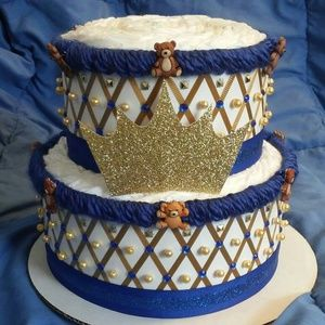 Other - Royal Blue and Gold Teddy Bear Prince Baby Shower